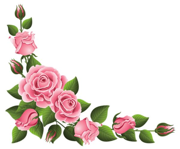 Corner Decoration with Roses PNG Clipart Picture