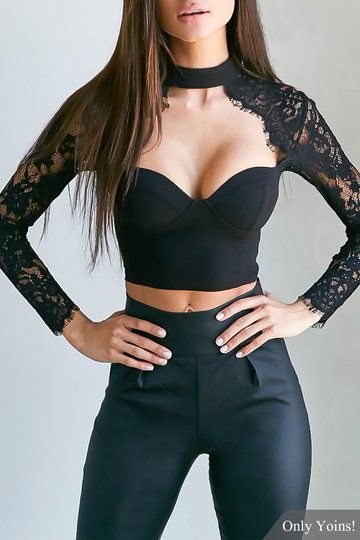 Black Sexy Lace Cropped Body-con Top