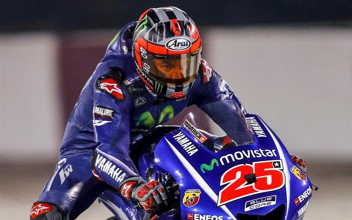 Descargar fondos de pantalla Maverick Viñales, piloto, Movistar Yamaha MotoGP, motos deportivas, MotoGP