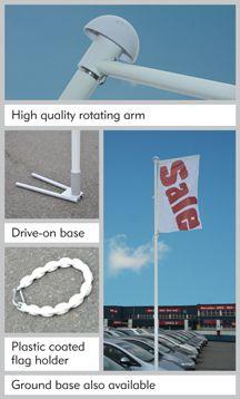 QUALITY USED CARS flag & pole + drive on base