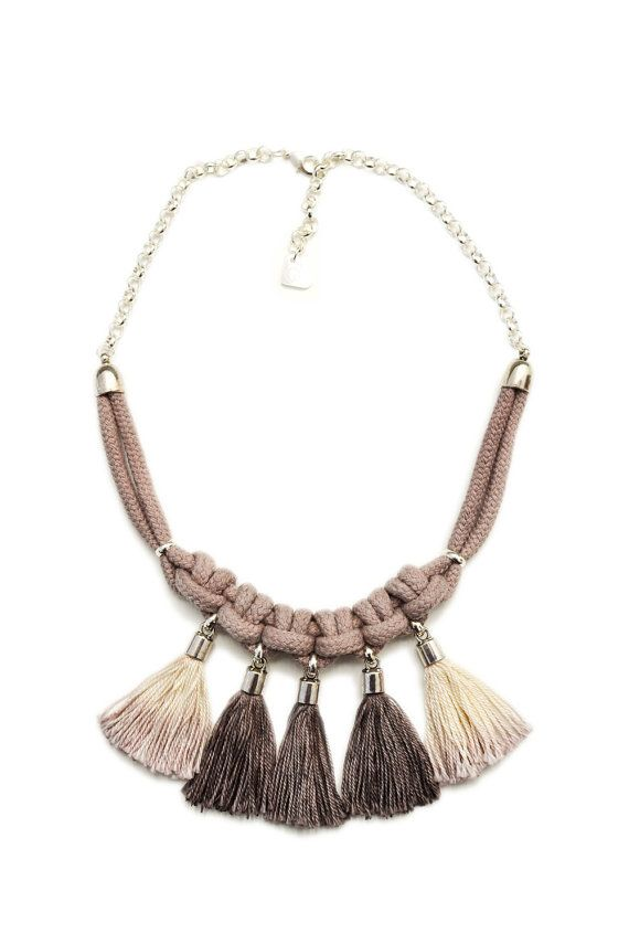Boho Macrame Purple Hand Dyed Taupe Tassel Bib Necklace