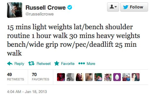 45 Times Russell Crowe Tweeted His Insane Fitness Regimen