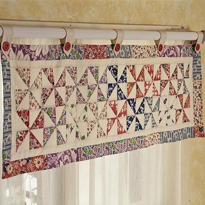 Pinwheels Valance Pattern, with Matching Quilt, Shams and Bedskirt - Quilting Digest