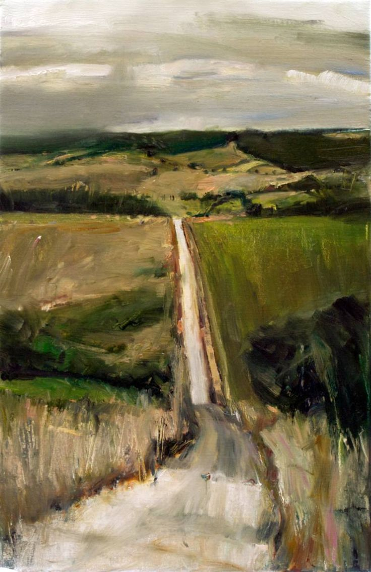 Saatchi art oil painting rural landscape at dawn painting by - Oil Painting Road To No Where Else By Kristian Mumford