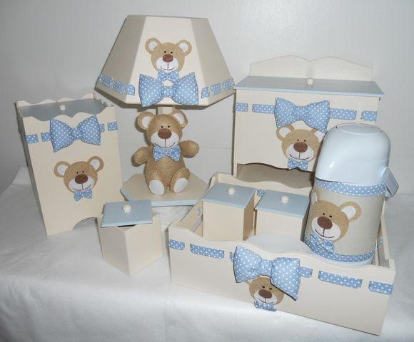 Kit MDF com tema ursinho em feltro. Pode ser feito em outra cor. As peças podem ser vendidas separadamente. Consulte nossos preços! Peça seu orçamento!