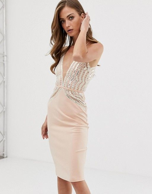 26c5a8cdde7d Rare London midi bodycon dress with sequin detail in pink in 2019 | What to  Wear | Dresses, Fashion, Bodycon Dress