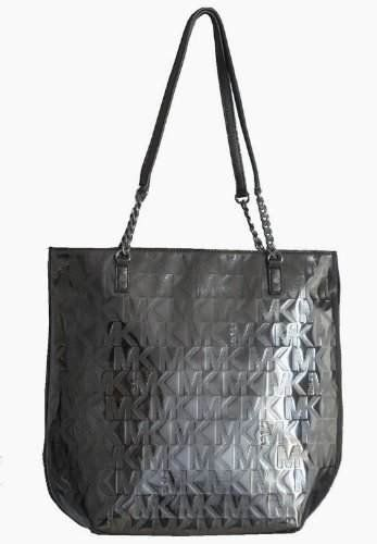 Michael Kors Mirror Metallic Jet Set NS Chain Tote Handbag Bag Purse Nickel