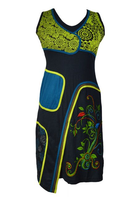 LADIES SLEEVLESS CARRY FLOWER DRESS WITH PATCH AND EMBROIDERY - GREEN TULIPS (3014)