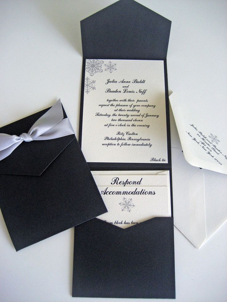 Pocket Wedding Invitation Set Elegant Snowflakes by designedbyme... if only no snow flakes!