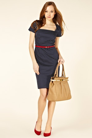 nice office wear: Red Belts, Polka Dots, Fashion Dresses, Blue Dresses, Nice Offices, Red Shoes, Shift Dresses, Dots Shift, Offices Wear