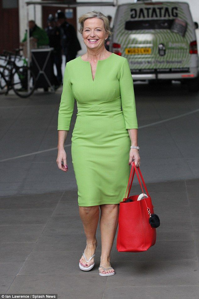 Still smiling: Fellow Strictly star Carol Kirkwood was still smiling as she left the Londo...