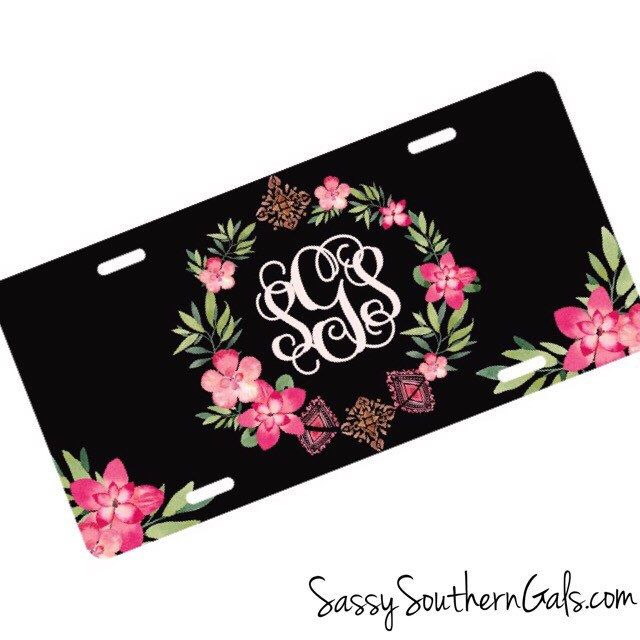 Car Tag Monogram | Floral Wreath | Car Tag | Monogrammed Gift by SassySouthernGals on Etsy https://www.etsy.com/listing/163561276/car-tag-monogram-floral-wreath-car-tag