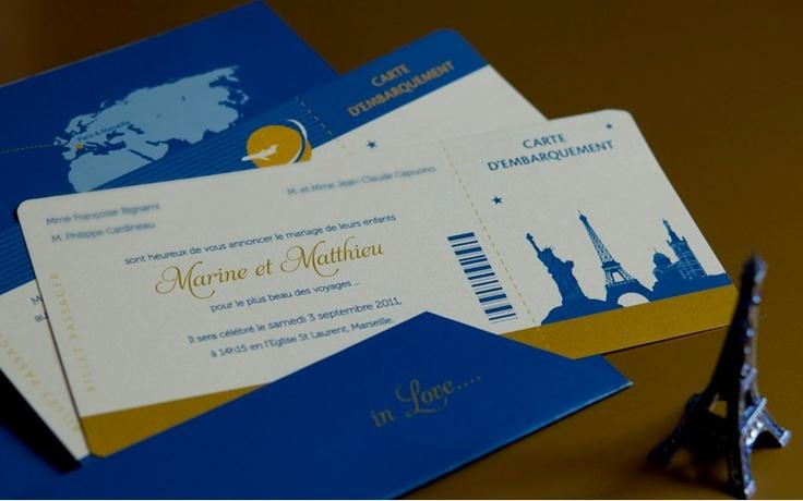 Faire part Voyage Billet d'avion Mariage Création sur mesure  www.latelierdelsa.com
