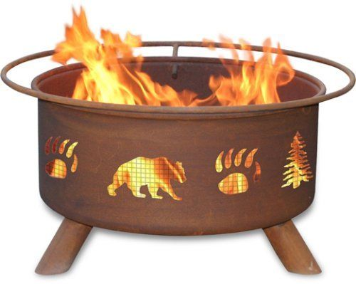 Patina Products F107,  30 Inch Bear & Trees Fire Pit by Patina. Save 8 Off!. $229.99. Comes fully assembled for immediate use. Five-year warranty: Fire pits guaranteed not to burn through or rust through for five years.. Portable design allows fire pit to move easily from patio to beach. Natural rust patina finish ages beautifully over time. Wire mesh lines the inside of the firepit to prevent sparks and embers escaping through the cutout design. For the Bear lovers among us, Patina Prod...