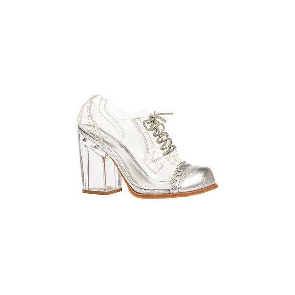 Jeffrey Campbell The Clearly Shoe in Clear with Silver Toe (EXCLUSIVE) (7.565 RUB) ❤ liked on Polyvore featuring shoes, oxfords, heels, jeffrey campbell, boots, clear, silver high heel shoes, silver heeled shoes, high heel oxfords and oxford shoes