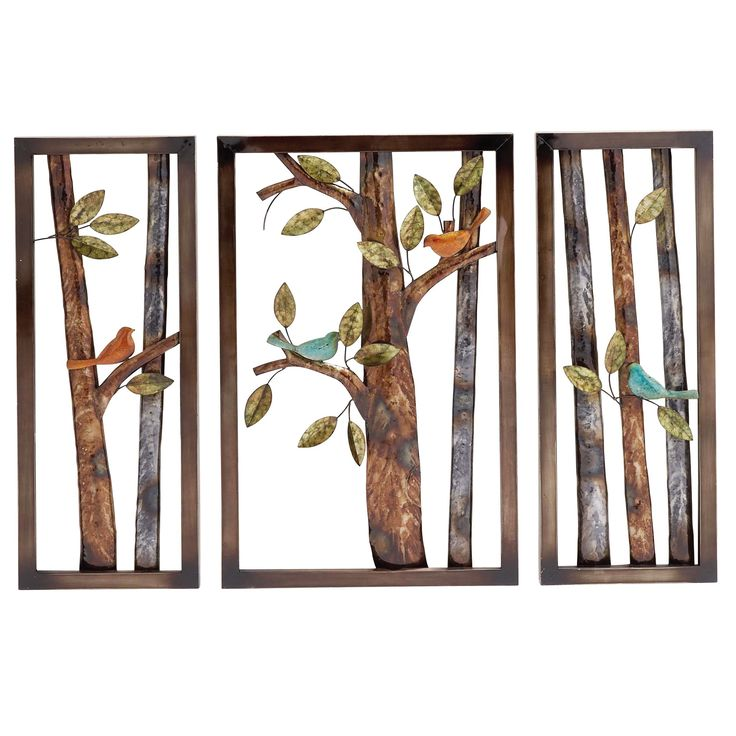 Morning birds botanical handcrafted 3 piece metal wall art decor by casa cortes