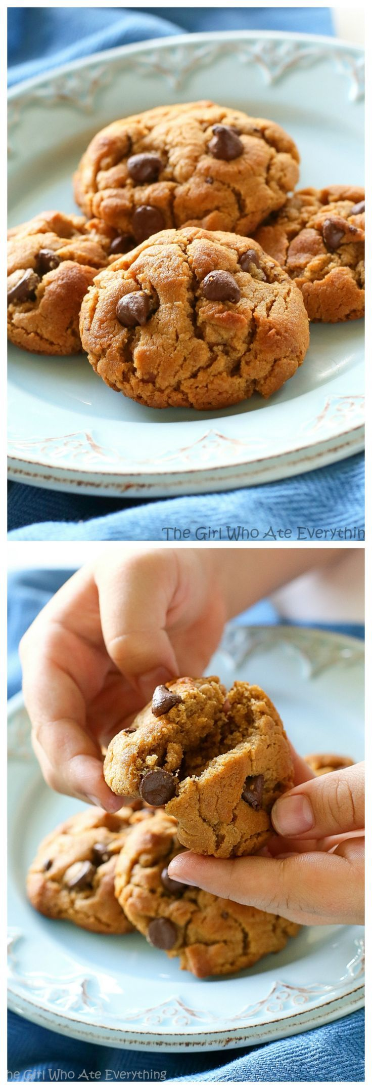 Flourless Peanut Butter Chocolate Chip Cookies - only a few ingredients and gluten free! the-girl-who-ate-everything.com