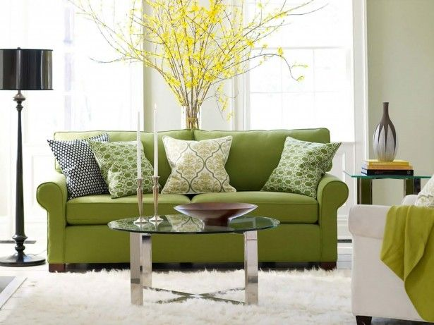Furniture, Green Loveseat White Arm Chair White Fur Rug Modern Black Floor Lamp Modern Round Glass Coffee Table Ancient Candle Holders Yellow Flowering Plant Square Glass End Table Green Cushions Wood Plate: Best Ideas For Arranging Furniture in Living Room