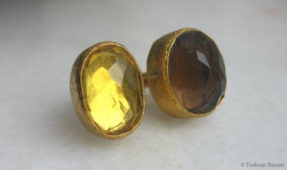 Mahfiruz Smoky Quartz & Yellow Quartz Stones set by TurkuazBazaar, $60.00