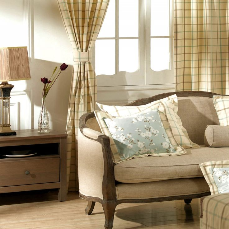 Classic Check 100% Cotton Jacquard Lined Curtain   #curtains #decor #homedecor #homeinterior #beige