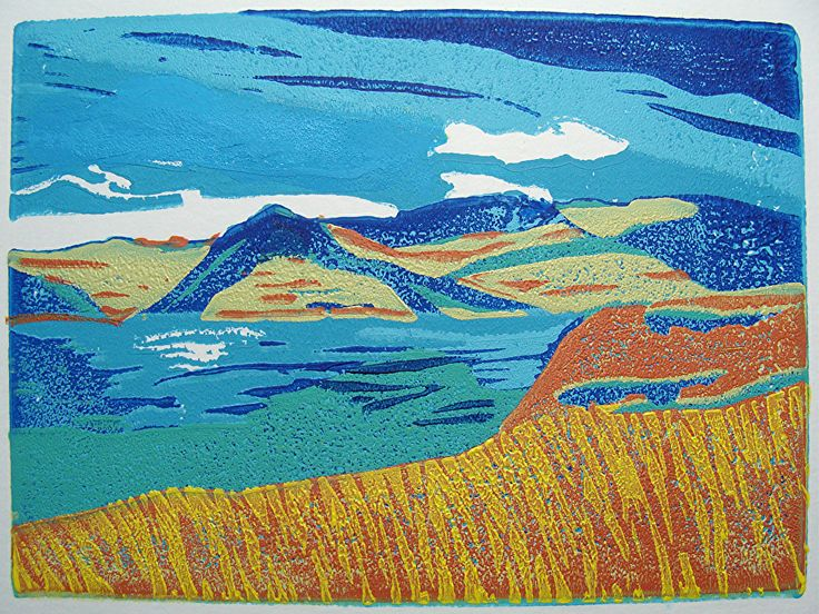KALAMALKA The Lake Of many Colours by ANGELA MAHER water based inks ~ 4 x 6