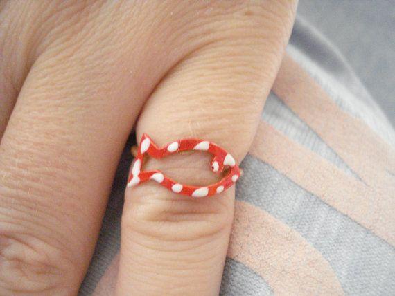 Gold fish ring Mint fish ring Chevalier ring Nautical by Poppyg