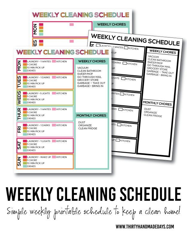 A Simple List to Keep Your Home Clean: Printable Weekly Cleaning Schedule. 5 daily tasks to keep your home clean with printables included.