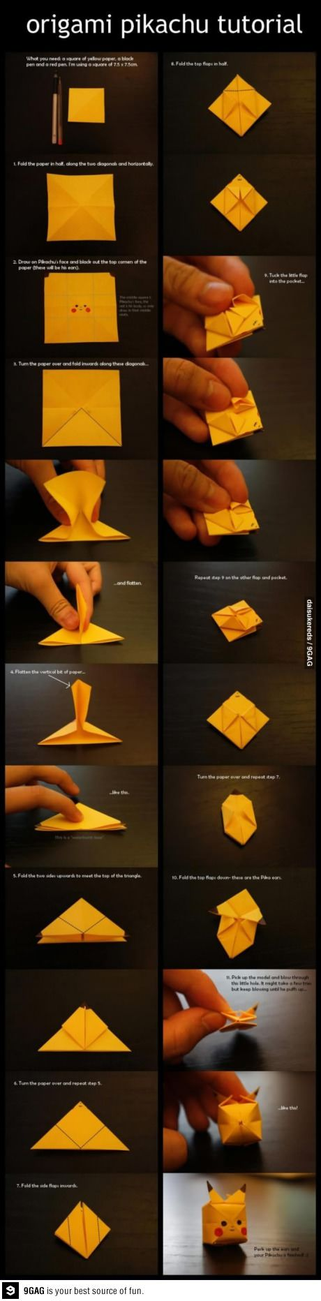 Pikachu Origami~ just went through my pinterest looking at what I posted, relised I hadn't changed the text on this one. I DONT have a son
