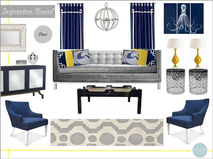 Interior Design Board, Jonathan Adler, Online Interior Design, e design, e decorating, style boards, inspiration boards, living rooms, www.stellarinteriordesign.com/design/