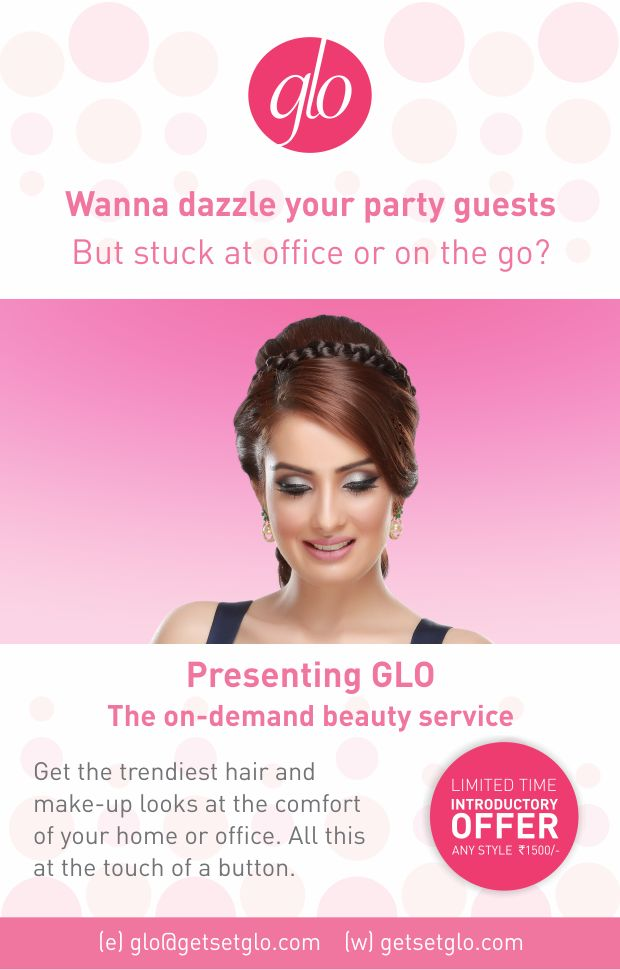 Here is something to brighten up your gloomy Monday! Special promotional offer - Get both make-up and hair in ONLY Rs. 1500!!! Mail us at glo@getsetglo.com or call at 8130347491 for an appointment. Get ready to get, set, GLO! #Glo #beauty #hair #onthegostyling #fashionistas #offer