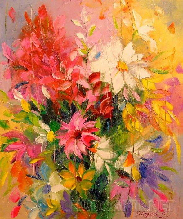 Бал цветов Картина маслом на холсте,цветы,на подарок,для интерьера