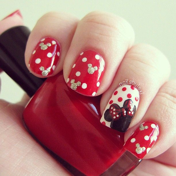 Minnie Mouse Nails- really considering this one for my holiday, but on the dot ones no mouse heads