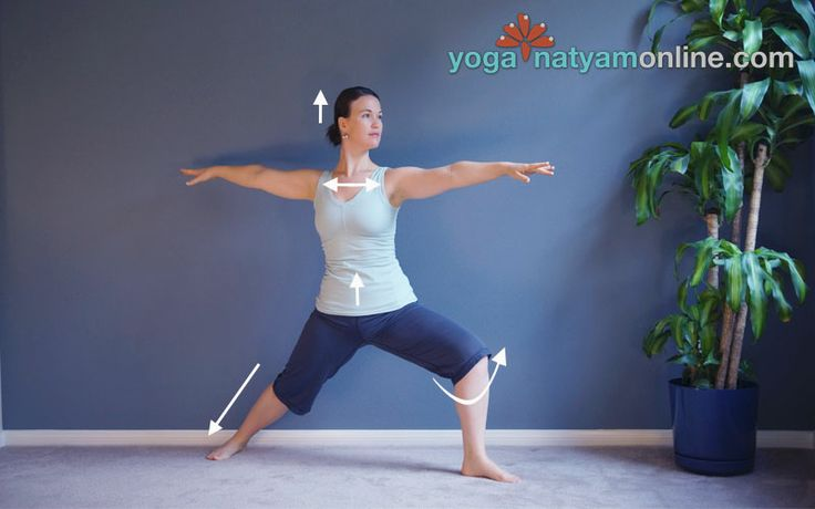 Warrior II Pose - Virabhadrasana II - A powerful yoga pose to: *Open the hips and adductor muscles of the inner thighs *Strengthen the arches, ankles, knees, and thighs *Broaden the chest and increase lung capacity *Cultivate stability and balance *Build willpower and focus