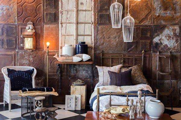 White Malawi chair | Adire cloth cushions | African design