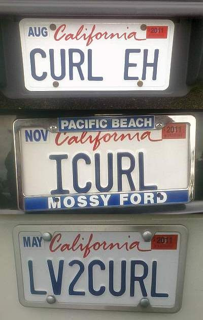 Print out some blank cali license plates on card stock. Maybe use as name tags or table tents. These plates belong to members of my club, the Orange County Curling Club.