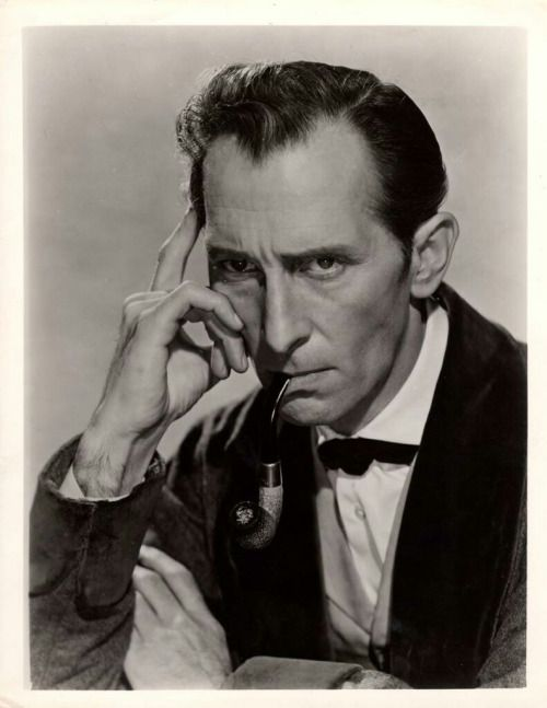 petercushingonline:  -A rare promo photo of Peter Cushing as Sherlock Holmes for the film The Hound of the Baskervilles (1959)   xoxoxo