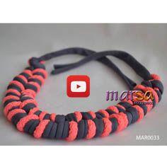 Mira aquí una idea de collar trenzado con trapillo y cordon  - Necklace