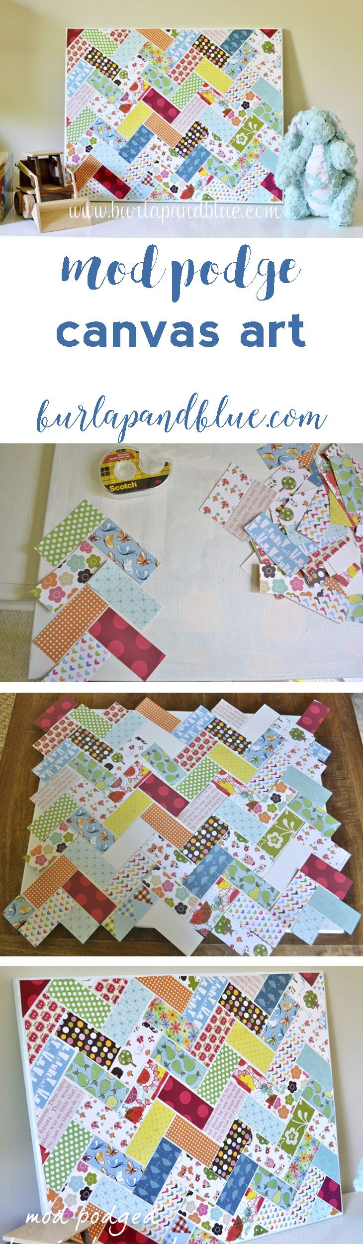 mod podge herringbone canvas wall art! great scrapbook paper project! fabric scraps