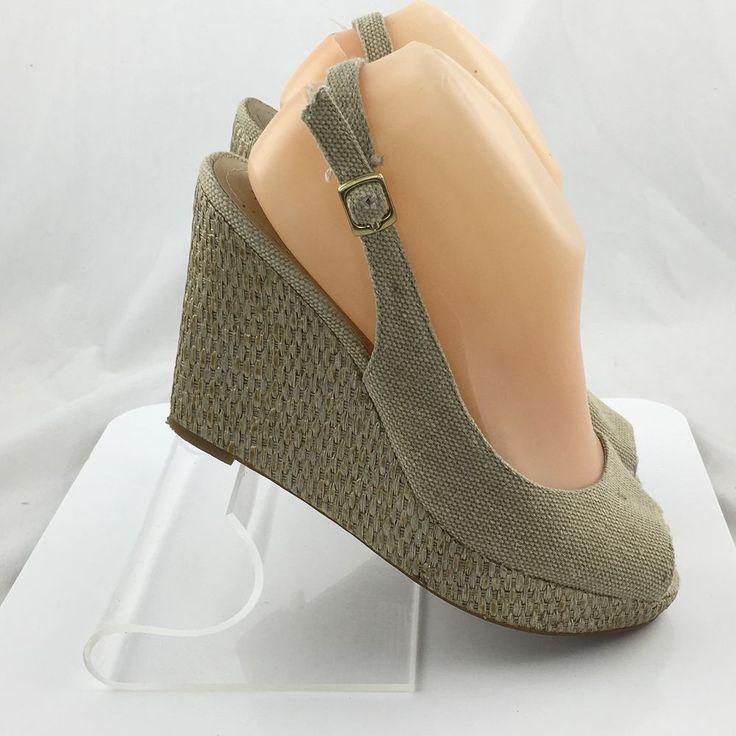 Tahari Taylor Women's Canvas Espadrille Wedge Peep Toe Shoes size 7 M Beige work #Tahari #PlatformsWedges #Casual