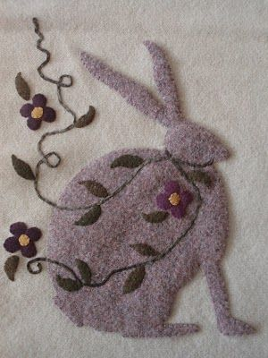 The bunnies are also made from a really thick vintage wool blanket