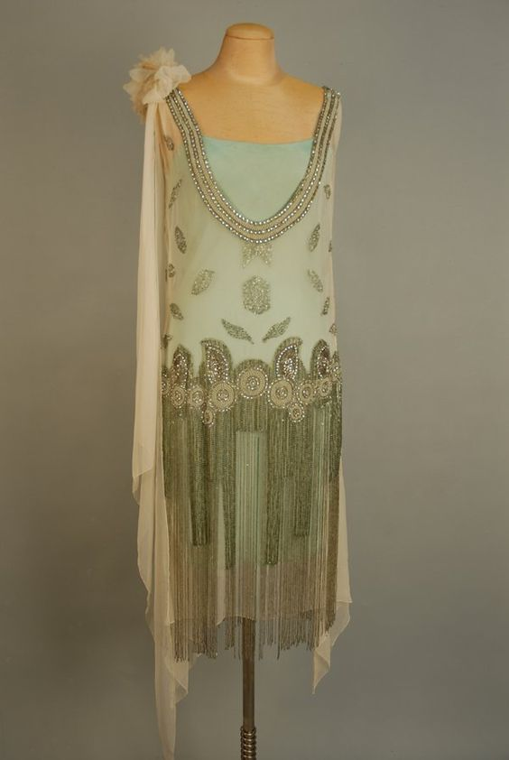 Jeweled Flapper Dress With Beaded Fringe, 1920s: