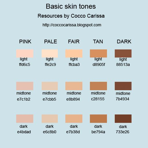 39 best HOW TO COLOR SKIN images on Pinterest Crayons, Skin tone - sample html color code chart