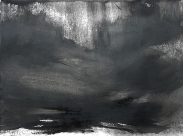Abstraction in Monochrome Light in the Darkness 5 Inspired by the drama and beauty of land and sky. Presented in a black frame with non reflective glass . Framed work 102 w x 85 cms Allow 1 weeks for framing, price includes frame.  (See work in situ for idea of frame)