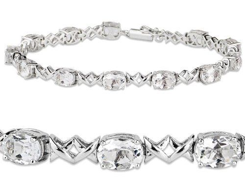 Sterling Silver and 11.40 ctw Oval-Cut Genuine White Topaz X-Link Bracelet Joolwe. $149.99. Save 38%!