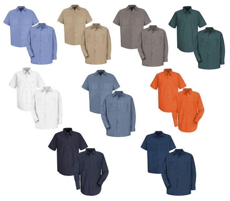 Red Kap Men Industrial 100% Cotton Work Shirt  MANY COLORS Irregular New
