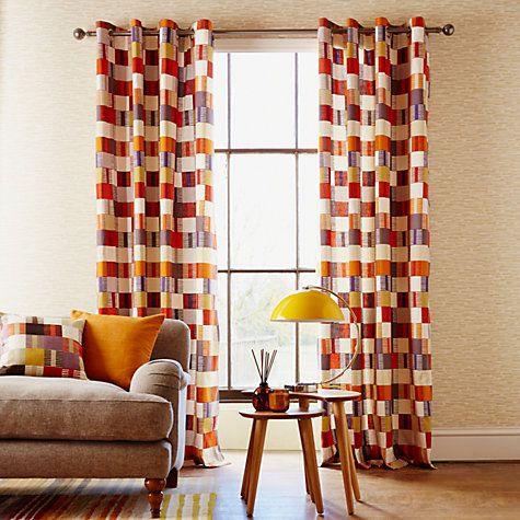 Buy Scion Navajo Lined Eyelet Curtains, Orange Online at johnlewis.com
