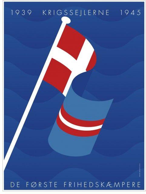 Plakat af Per Arnoldi i anledning af anerkendelse af krigssejlerne 1939-1945