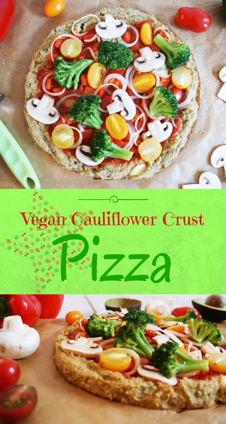 Vegan Pizza with a simple cauliflower crust