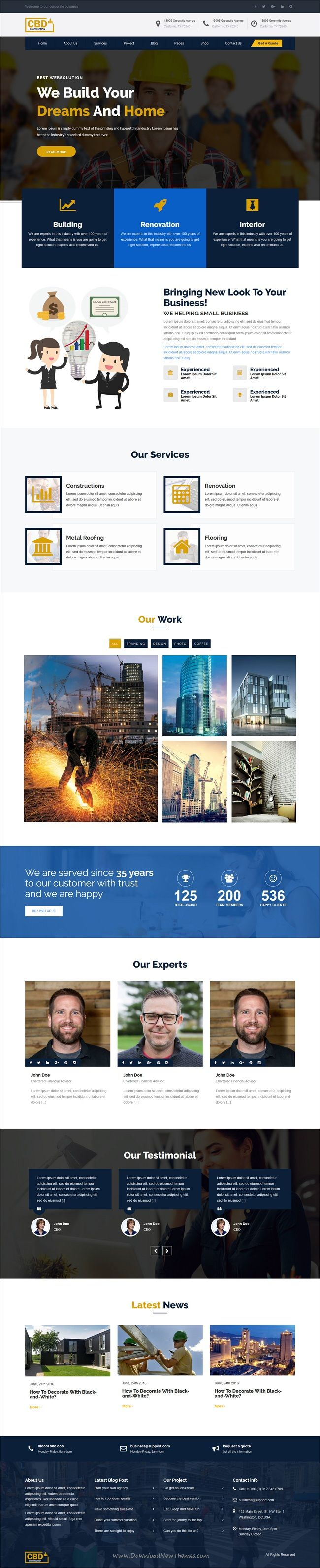 Construct is clean and modern design 5in1 responsive #HTML template for #construction and #architecture company website download now..