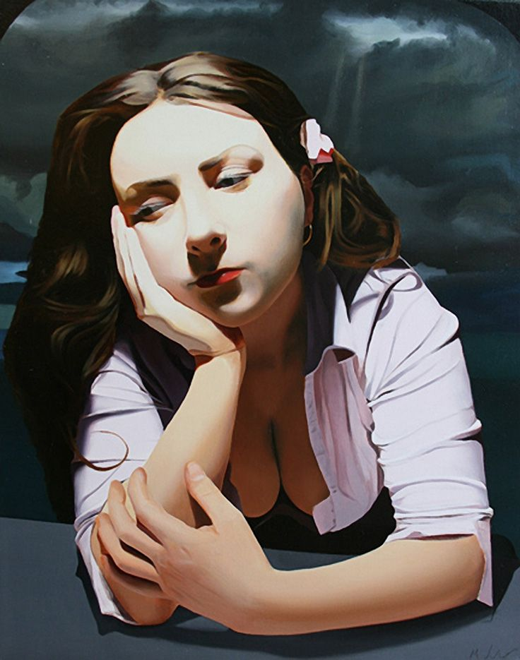 """""""Twilight Daydream"""" - Michael de Bono, oil on canvas {contemporary figurative art beautiful female head hands young woman painting}"""